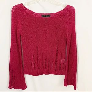 Jessica Simpson Maroon Distressed Sweater
